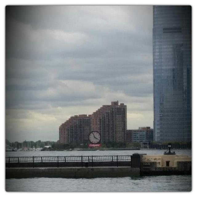 The Colgate Clock on the edge of the Hudson River